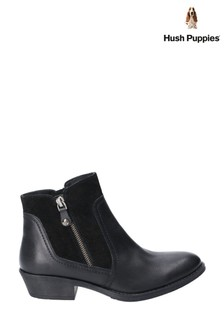 Hush Puppies Black Isla Zip Up Ankle Boots