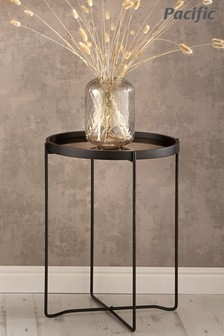 Pacific Black And Copper Wood And Iron Round Side Table