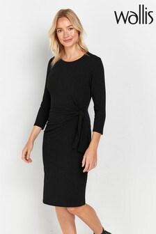 Wallis Black Ribbed Side Tie Dress