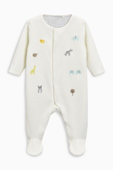 Embroidered Velour Sleepsuit (0-18mths)