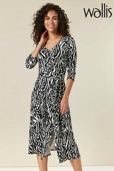 Wallis Neutral Animal Print Split Front Midi Dress