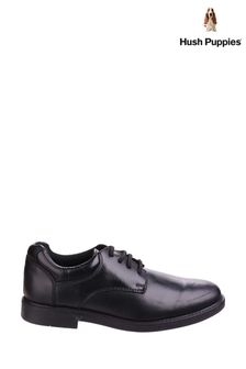 Hush Puppies Black Tim School Shoes