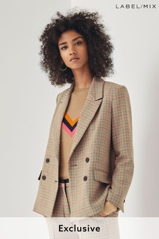 Next/Mix Check Double Breasted Jacket