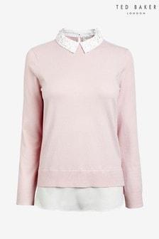 Ted Baker Pink Zoilaa Embellished Collar Jumper