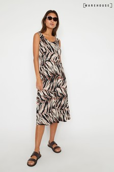 Warehouse Animal Abstract Tiger Midi Dress