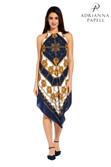 Adrianna Papell Blue Scarf Printed Halter Trapeze Dress