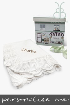 Babyblooms Personalised White and Gold Luxury Knitted Blanket Baby Gift
