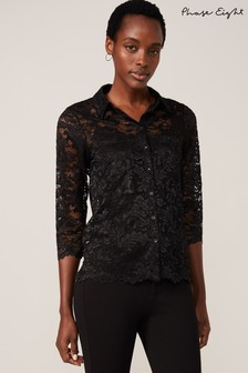 Phase Eight Black Gabby Lace Blouse