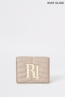 River Island Beige Mini Quilted Foldout Bag