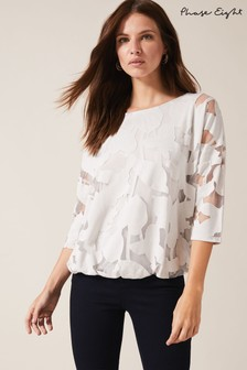 Phase Eight Neutral Reine Palm Bubble Hem Burnout Top