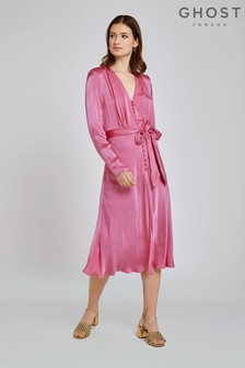 Ghost London Pink Meryl Satin Dress