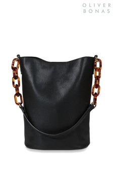 Oliver Bonas Black Abi Resin Bucket Cross Body Bag