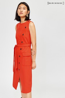 Warehouse Orange Button Sleeveless Midi Dress