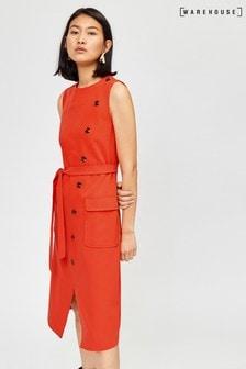 Pomarańczowa sukienka na guziki i bez rękawów, średniej długości Warehouse