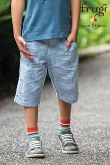 Frugi Organic Cotton Blue Stripe Seersucker Shorts