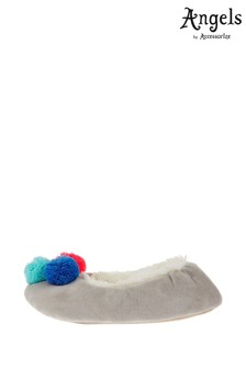 Angels by Accessorize Grey Pom Pom Ballerina Slippers