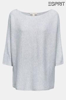 Esprit Grey Metallic 3/4 Sleeve Sweater