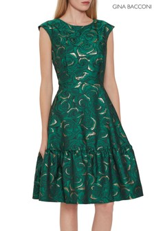 Gina Bacconi Green Nasra Jacquard Dress
