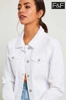 F&F White Cropped Denim Jacket