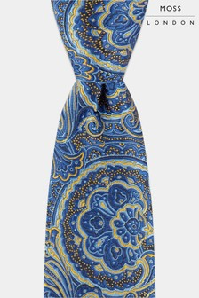 Moss London Navy Mid Size Paisley Tie