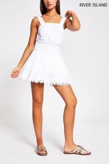 River Island White Shirred Beach Dress
