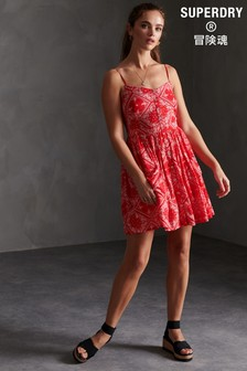 Superdry Red All Over Print Cami Dress