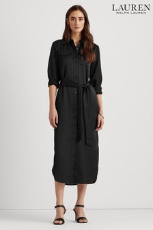 Lauren Ralph Lauren® Black Bishnal Midi Shirt Dress