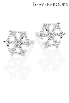 Beaverbrooks Sterling Silver Cubic Zirconia Snowflake Earrings
