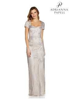 Adrianna Papell Silver/Nude Ribbon Embroidered Column Gown