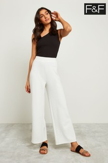 F&F Cream Wide Leg Trouser