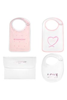 Givenchy Kids Baby Girls Pink Cotton Bib Set