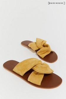 Warehouse Yellow Suede Knotted Sandal