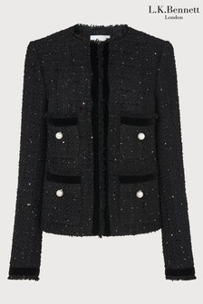 LK Bennett Black Sparkle Tweed Jacket With Velvet Ribbon Trim