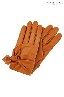Accessorize Tan Knotted Leather Gloves