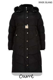 River Island Black XLL Belted Padded Jacket