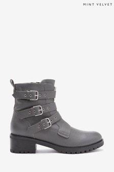 Mint Velvet Logan Grey Zip Biker Boots