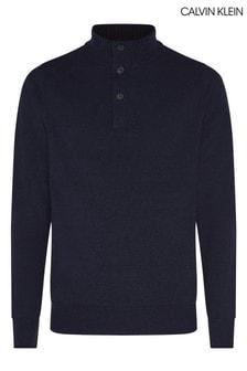 Calvin Klein Blue Wool Blend Button Mock Neck Sweater