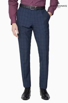 Jeff Banks Blue Soho Plain Front Suit Trousers