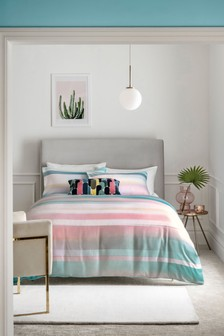 100% Cotton Sateen Striped Miami Duvet Cover and Pillowcase Set