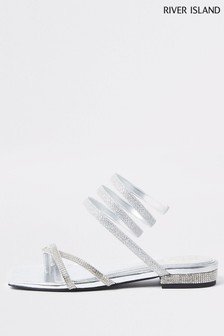River Island Silver Heatseal Ankle Wrap Sandals