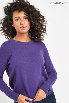 Gant Womens Purple Superfine Lambswool Crew