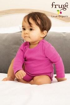 Frugi Pink GOTS Organic Long Sleeve Bodysuit