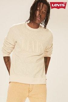Levi's® Cream Fleece Serif Logo Sweat Top