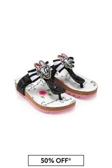 Monnalisa Girls Black Cotton Sandals