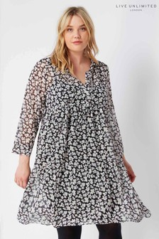 Live Unlimited Black Ditsy Print Tiered Dress