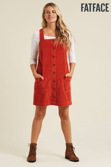 FatFace Orange Sabrina Cord Pinafore Dress