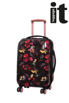 IT Luggage Dark Floral Expander Cabin Case