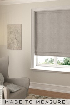 Made To Measure Stone Soft Velour Roman Blind