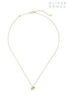 Oliver Bonas Gold Plated Selma Round & Teardrop Pendant Necklace