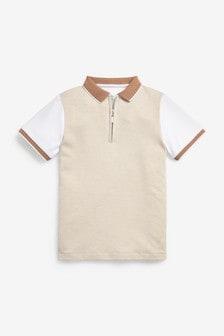 Textured Zip Polo Shirt (3-16yrs)
